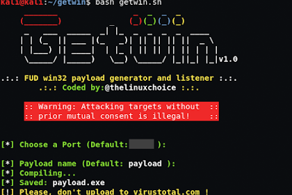 Getwin - FUD Win32 Payload Generator And Listener