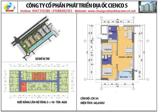 Sơ đồ thiết kế căn 34 chung cư B2.1 HH02A&B Thanh Hà Cienco 5