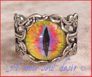 Bague bijou oeil yeux dragon serpent chet gothique cyclope day of the dead zombie gothic goth cat eye ring
