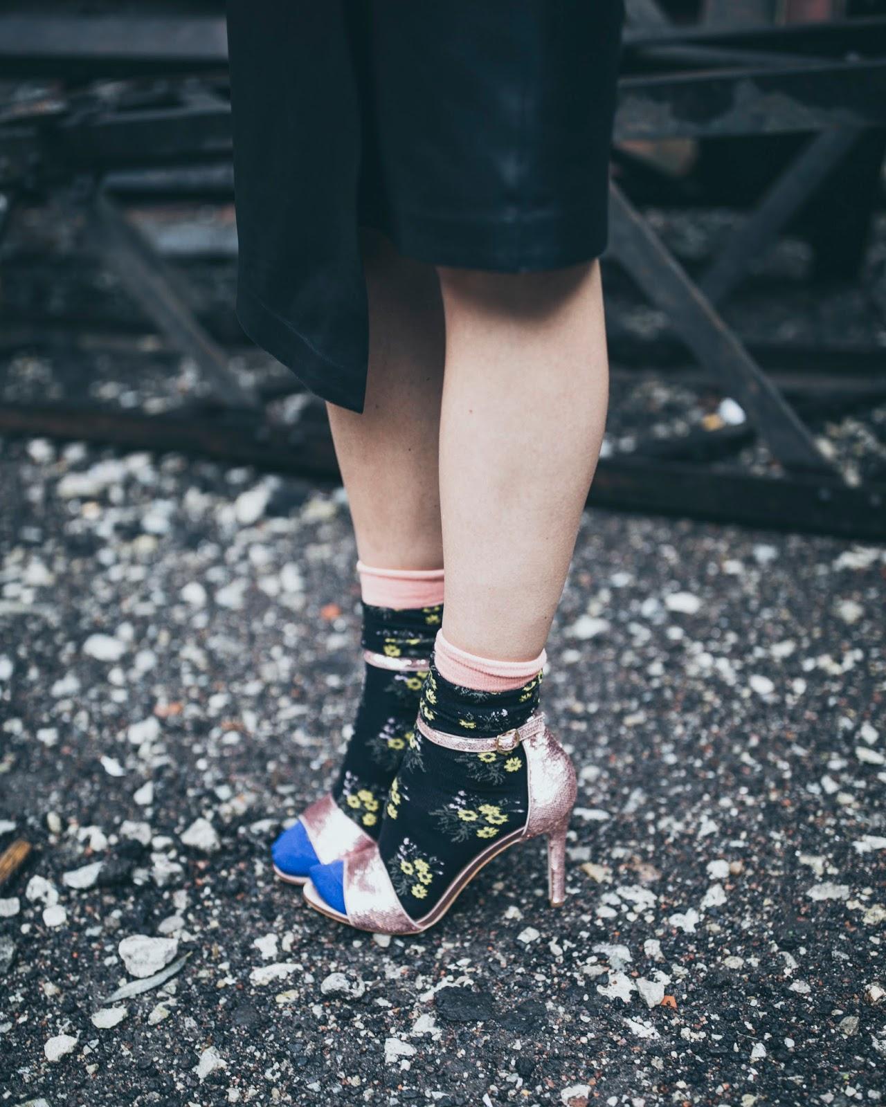 erdem floral socks aldo pink sequin sandals