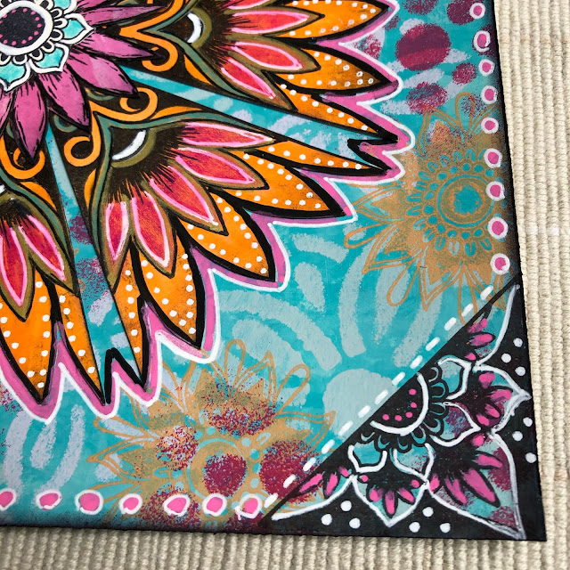 Art Journal pages using PaperArtsy / Tracy Scott stamps and Fresco Chalk Acrylics