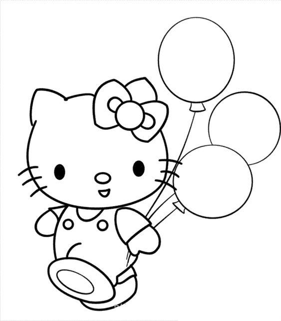 Tranh tô màu mèo hello kitty và chùm bóng bay