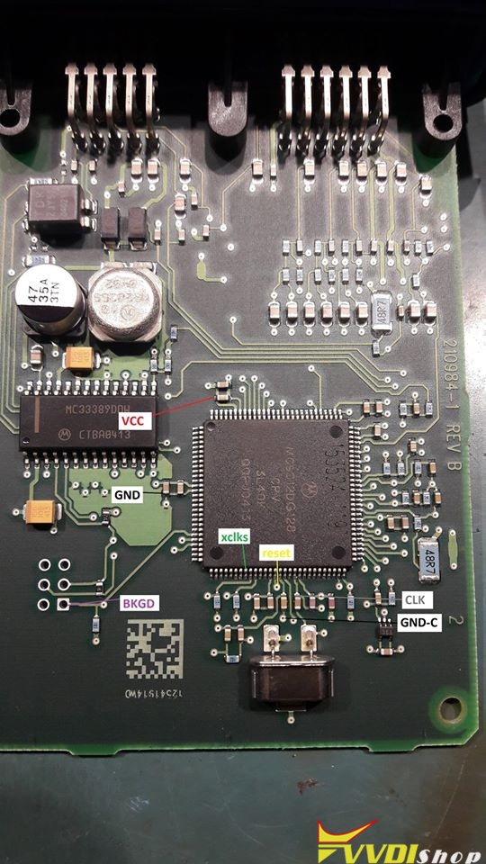 VVDI Prog Pinout to Chrysler OCM MC9S12DG128 2