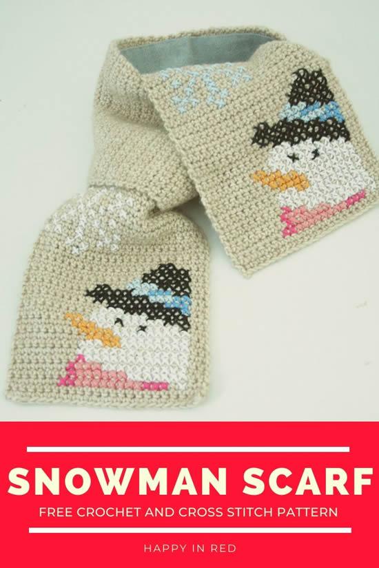 Free crochet pattern: children's scarf, Happy Snowman Scarf | Happy in Red