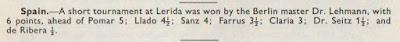 I Torneo Internacional de Lleida 1963, British Chess Magazine nº 7, julio 1963 – página 221