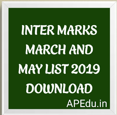 INTER MARKS MARCH AND MAY LIST 2019  DOWNLOAD