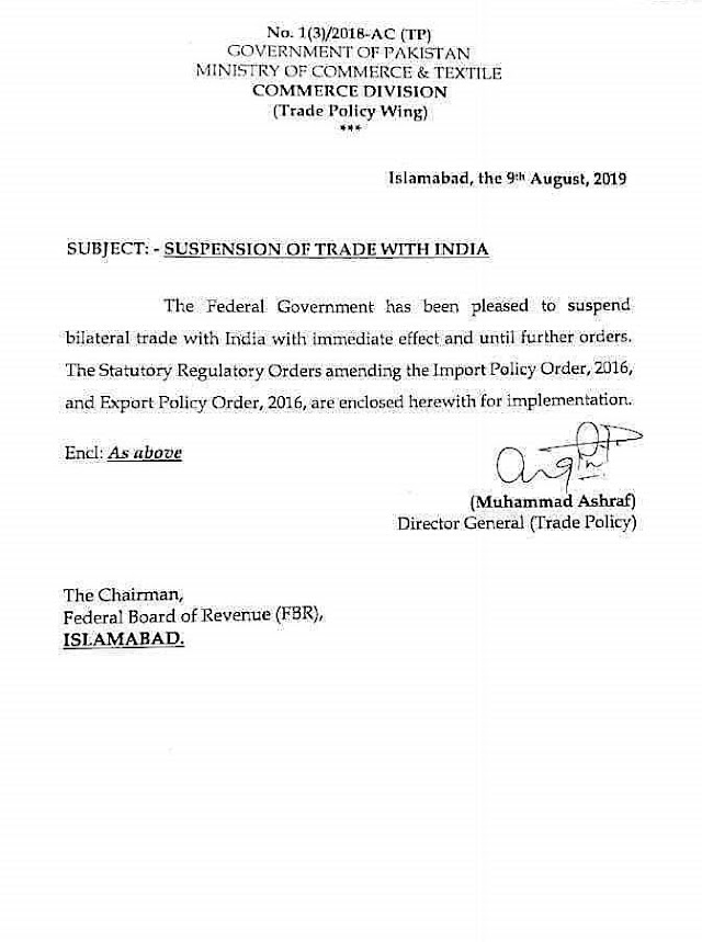 SUSPENSION OF TRADE WITH INDIA