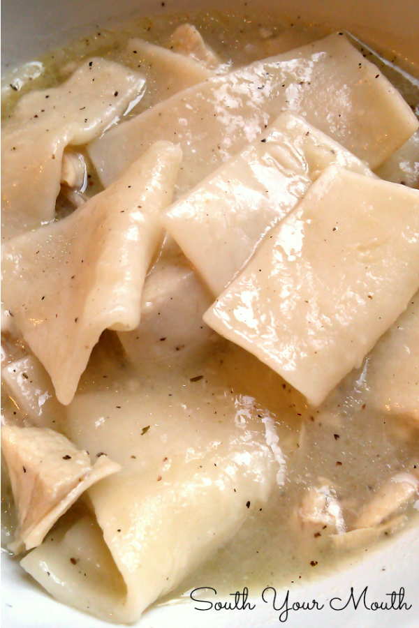 Scratch-made dumplings (with variations for thin pastry-like noodles or thicker doughy dumplings) with a slow cooked chicken stock with easy-to-follow instructions. Just like Nanny made!