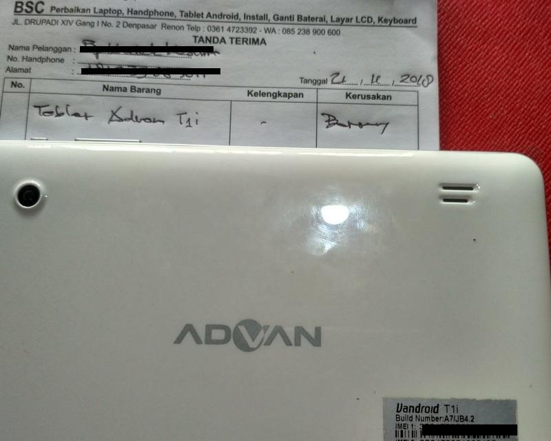 Bali Service Computer Ganti Baterai Tablet Advan Cepat Habis