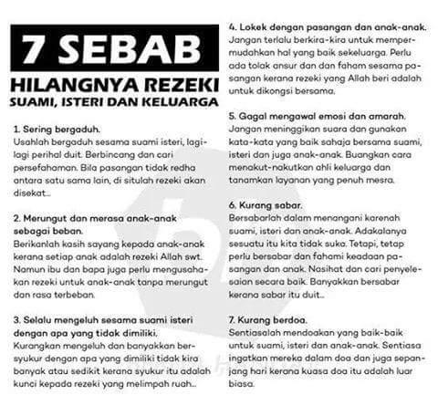 7 Sebab Hilangnya Rezeki Suami Isteri dan Keluarga!