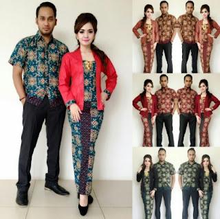 Gambar model baju batik couple kombinasi cantik