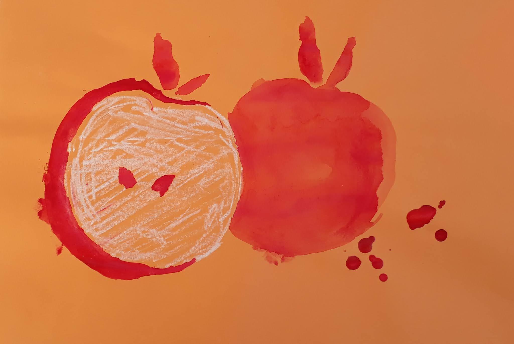 Vesiväreillä ja liidulla tehty omena