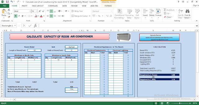 Download Calculate Capacity of Room Air Conditioner Excel Spreadsheet
