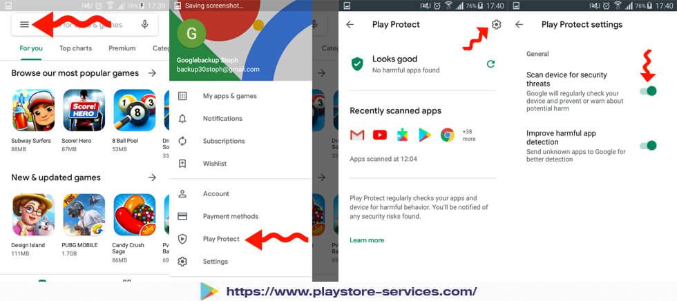 الوصول إلى خاصية Play Protect