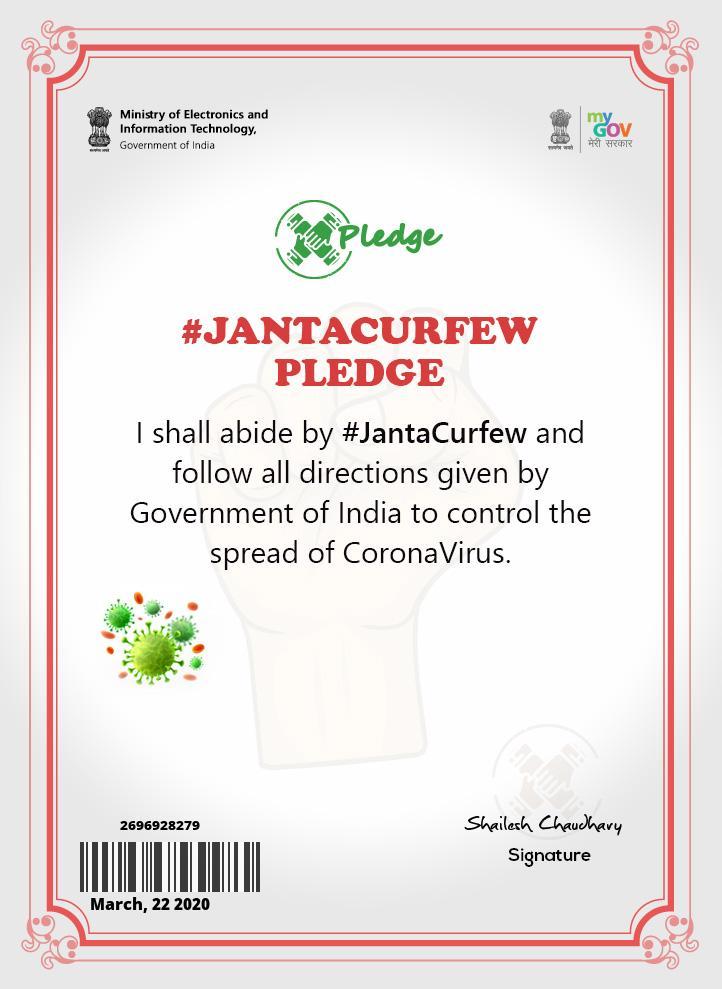 Download Janta Curfew Pledge Certificate