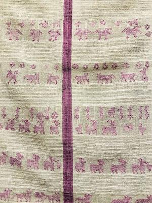 pieza textil en algodón teñida con grana cochinilla