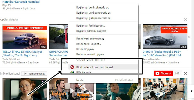 Youtube'da video ve kanal engelleme eklentisi