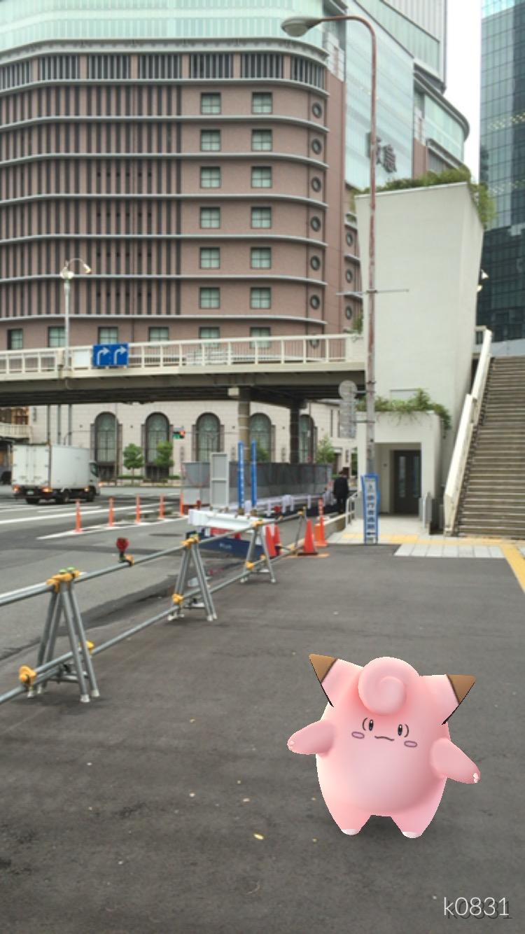 【ポケモンGo】Day6朝: 大阪の阪急百貨店前で「ピッピ」を発見