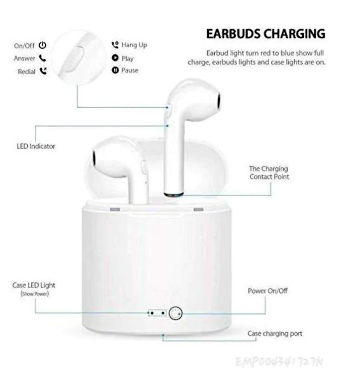 Bluetooth Wireless Headset with Mic Charging Box- White (White)
