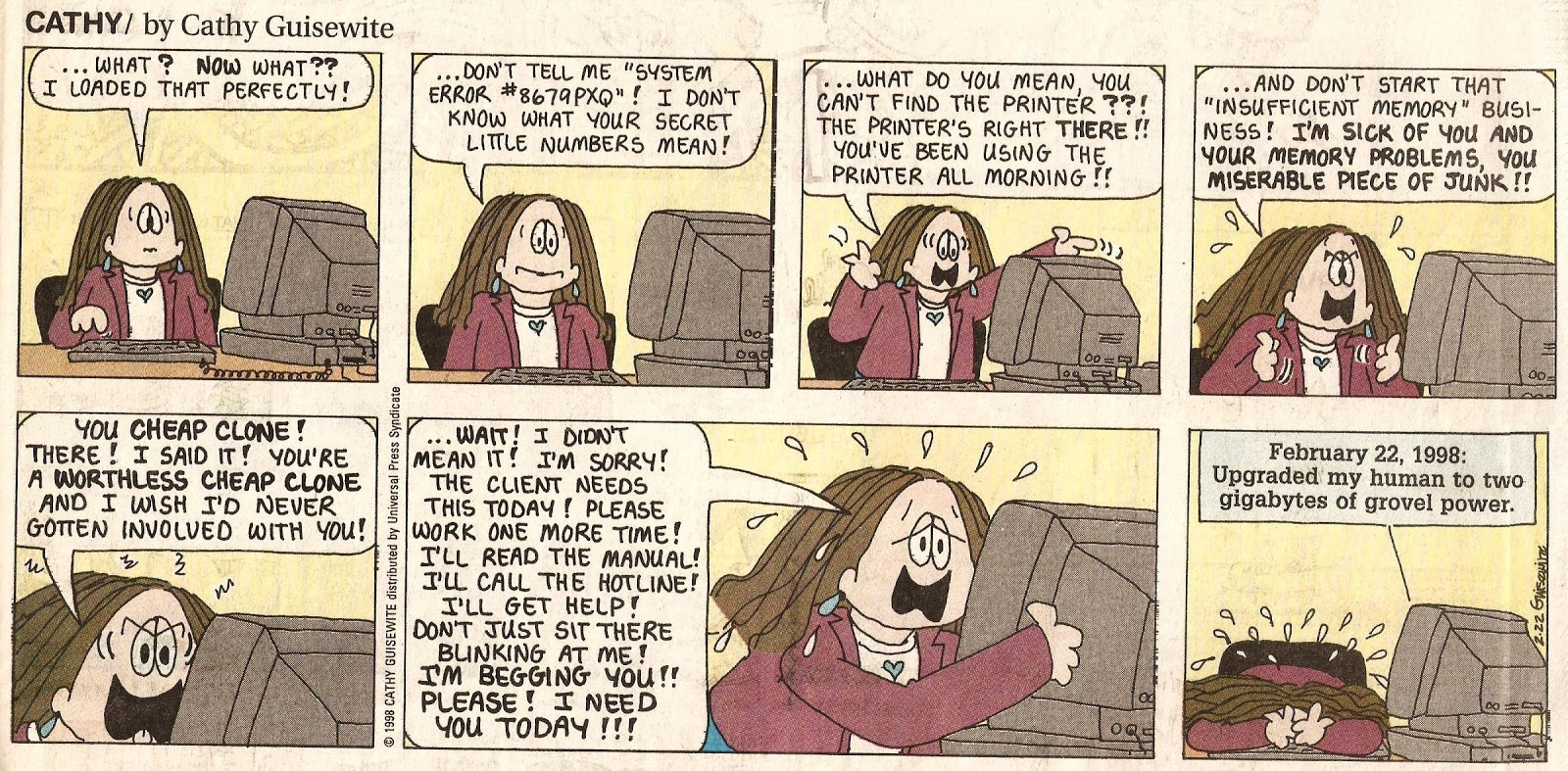 an analysis of the comic strip cathy by cythy guisewite About cathy guisewite: cathy lee guisewite is the cartoonist who created the comic strip cathy in 1976 her main cartoon character (cathy) is a career wo.