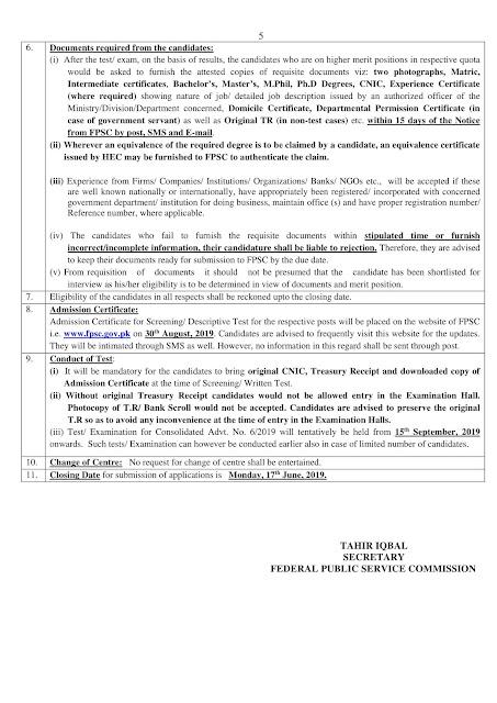 FPSC New Jobs Announcement 2019    Online Registration