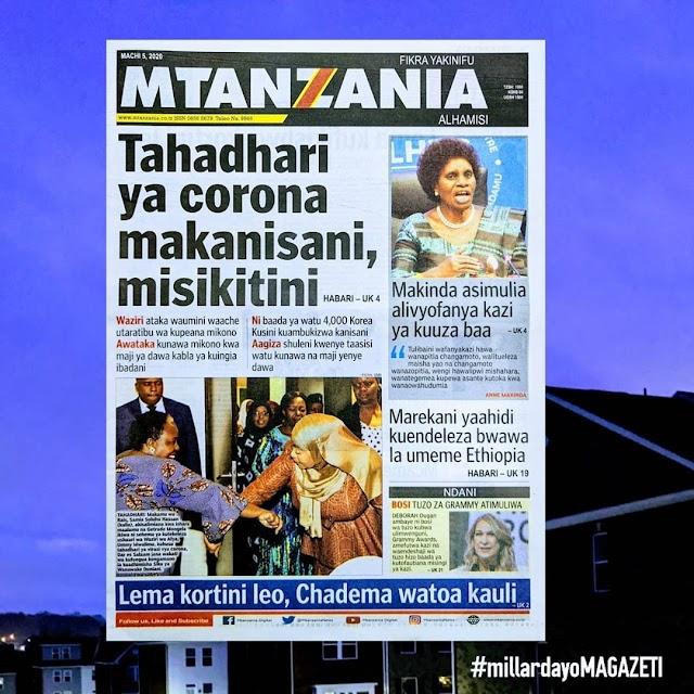 Habari kubwa za Magazeti ya Tanzania leo March 5, 2020