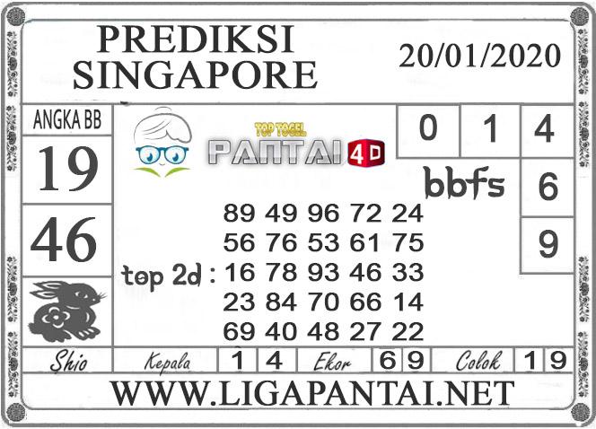 PREDIKSI TOGEL SINGAPORE PANTAI4D 20 JANUARI 2020