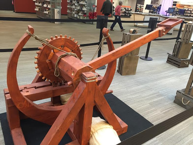 Catapult built by local engineers based on Leonardo Da Vinci's design.