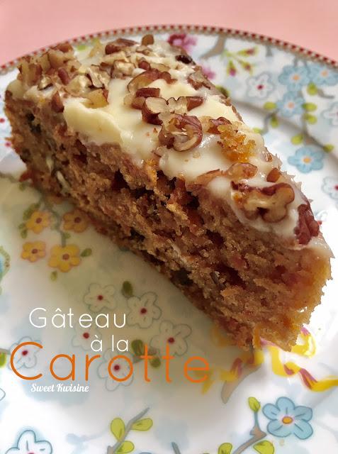 sweet kwisine, gâteau, carottes, carrot cake, noix de pécan, bananes séchées, martinique, pâtisserie, glaçage fromage frais, philadelphia, gôuter, gâteau sans beurre