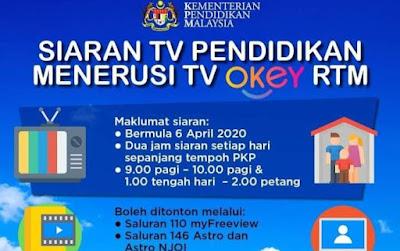 Jadual Program TV Pendidikan Di TV Okey (UPSR, PT3 dan SPM)