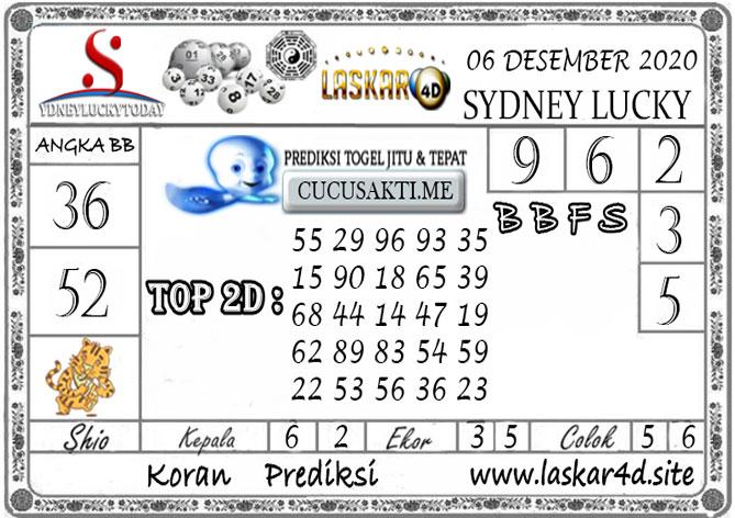 Prediksi Sydney Lucky Today LASKAR4D 06 DESEMBER 2020