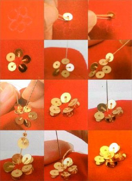 memasang-payet-bentuk-bunga