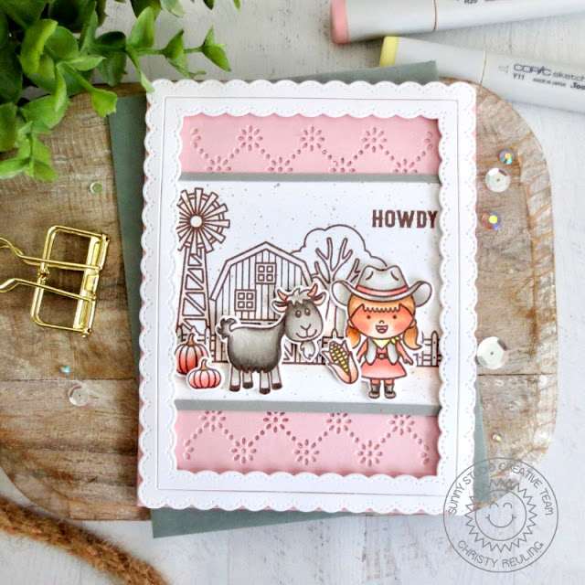 Sunny Studio Stamps: Little Buckaroo Farm Fresh Harvest Mice Frilly Frame Dies Autumn Themed Card by Christy Reuling