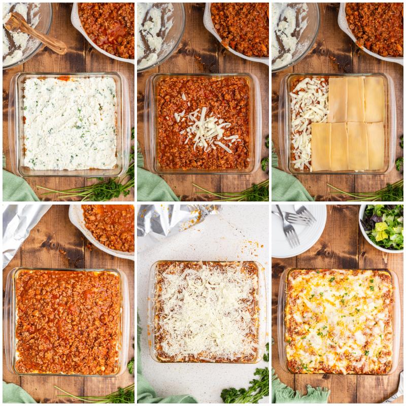 Six more photos of the process of making keto lasagna.