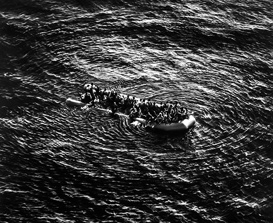 Robert Longo Untitled (Refugees Moonbird Sighting, Mediterranean Sea; May 5, 2017), 2019. Charcoal on mounted paper, 246.4 x 304.8 cm