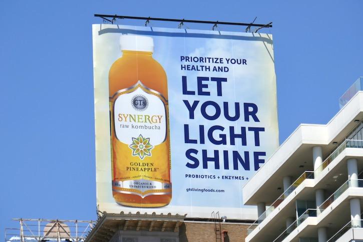 GTs Synergy Raw Kombucha Golden Pineapple billboard