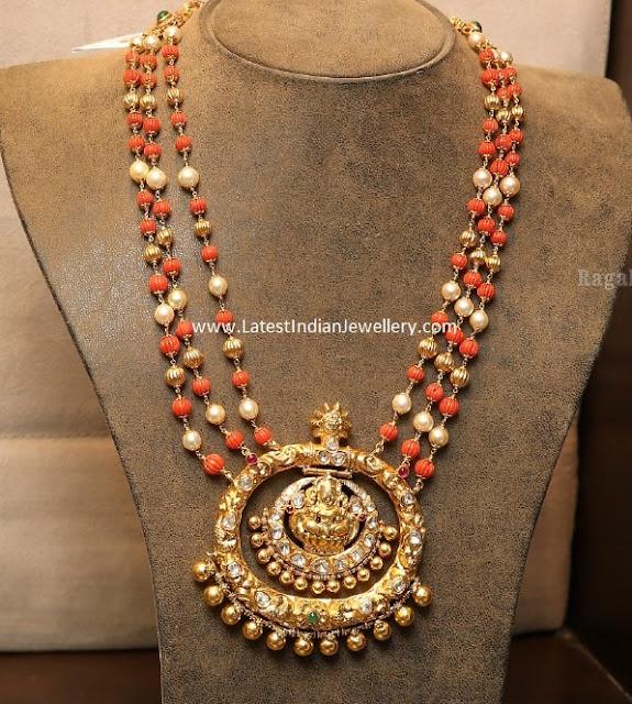 Coral Beads Mala Lakshmi Pendant