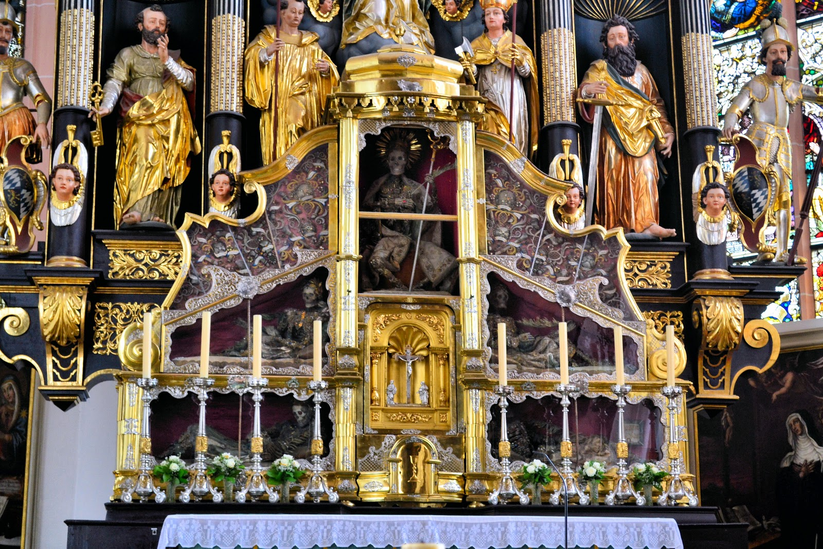 Look closely at the extraordinary collection of relics in the High Altar at Saint Michael's.