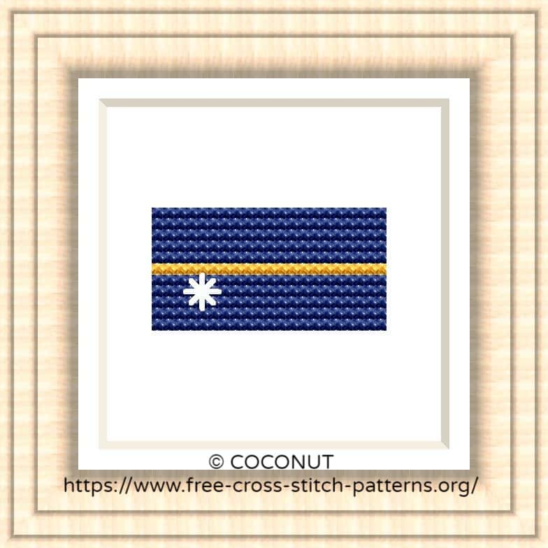 NATIONAL FLAG OF NAURU CROSS STITCH CHART