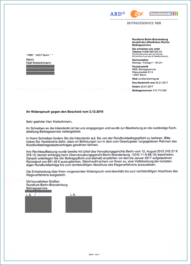 entscheidung ber aussetzung der vollstreckung informationen des rbb beitragsservice zum widerspruch gegen festsetzungsbescheid vom 23012017 - Gez Widerspruch Muster