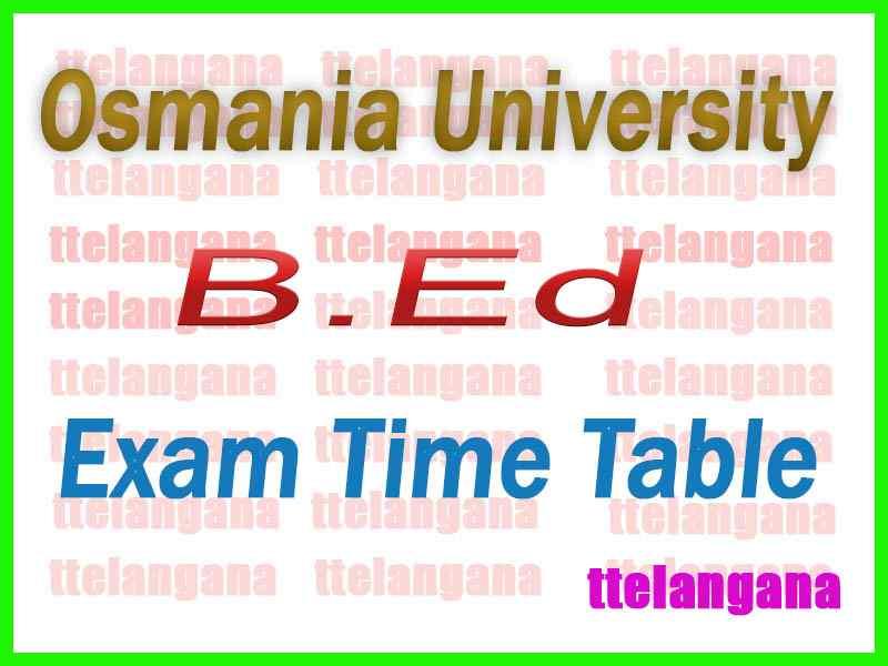 Osmania University B.Ed (Spl)  Regular Exam Time Table