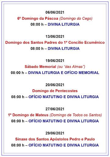 ATIVIDADES PAROQUIAIS E DIVINAS LITURGIAS