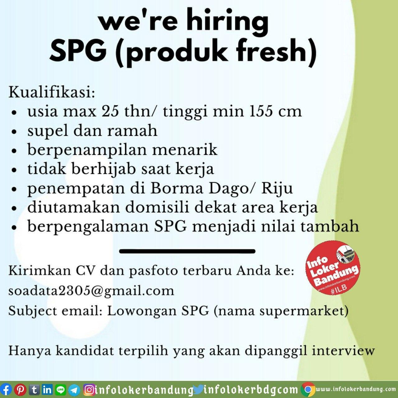 Lowongan Kerja SPG ( Produk Fresh) Bandung Juni 2020