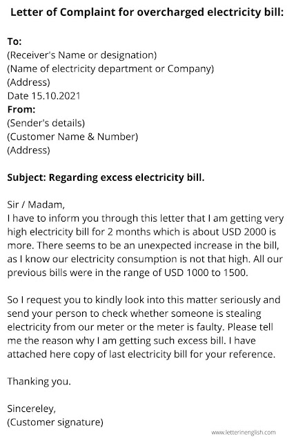 Letter of Complaint about overcharged electricity bill