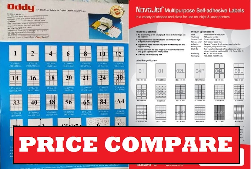 Compare Price A4 Sheet Self Adhesive Label Oddy Novajet VCR Desmat