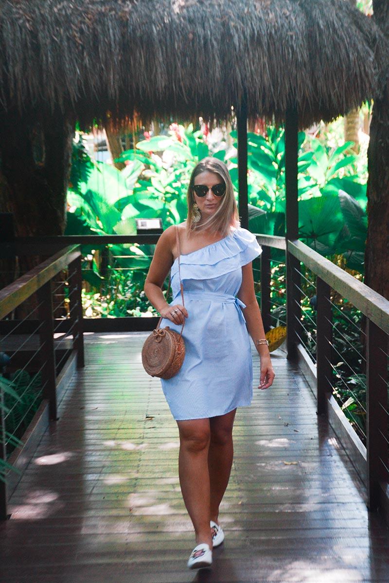 australian summer outfit one shoulder ruffle pinstripe dress round basket bag cat eye sunglasses