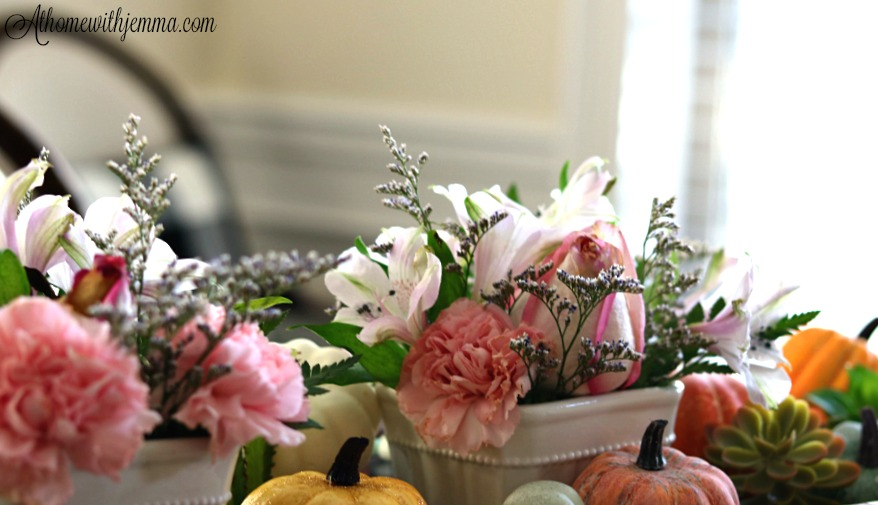 carnations, roses, pumpkins, dough, bowl, seasonal, holiday, Fall, athomewithjemma.com