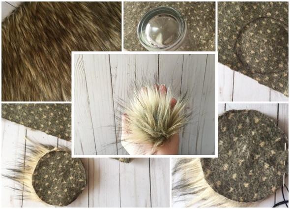 pompones piel sintética, manualidades, pompón pelo, diys