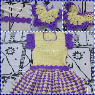 crochet girl's dress, crochet belt, crochet head band